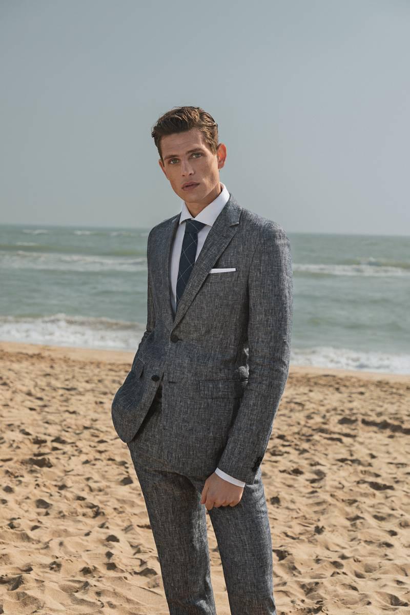 100% blue linen suit