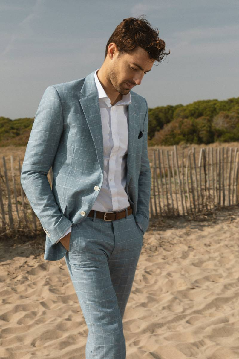 plaid blue linen suit