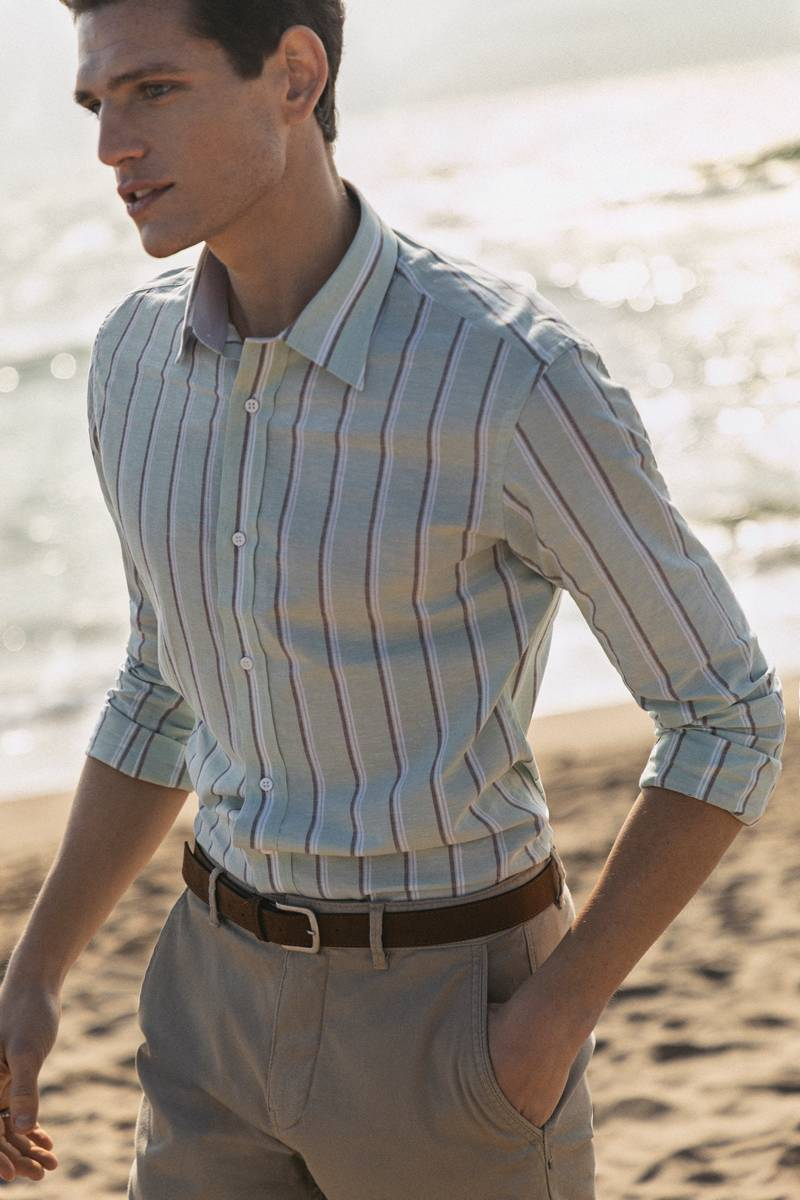 linen striped shirt