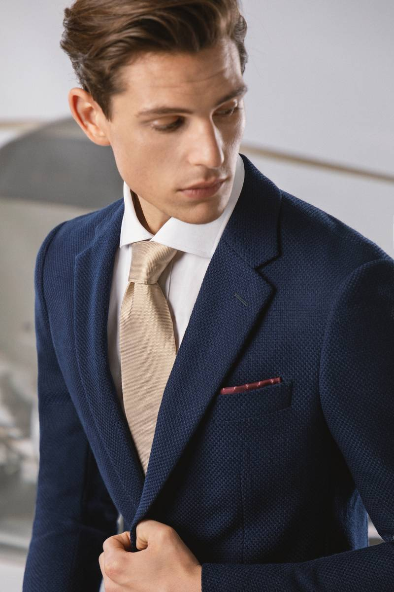 blue cotton wool blend suit
